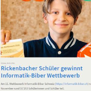 Rickenbacher Schüler gewinnt Informatik-Biber Wettbewerb